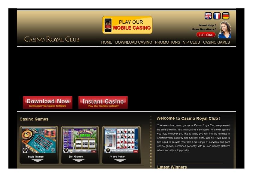 Casino Royal Club review on Free Slot Reviews