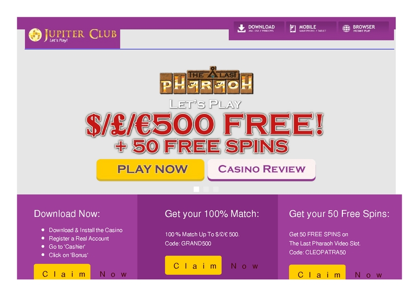 Jupiter Club review on Free Slot Reviews