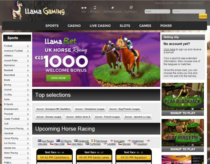 Llama Casino review on Free Slot Reviews