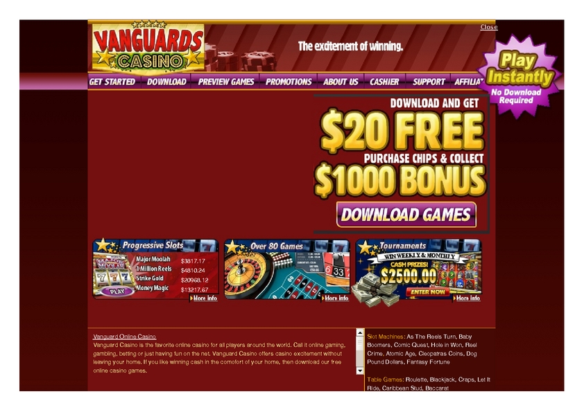 Vanguard review on Free Slot Reviews